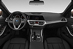 Stock photo of straight dashboard view of 2019 BMW 3-Series-Sedan 330i-Sport-Line 4 Door Sedan Dashboard