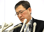 October 27, 2017, Tokyo, Japan -  Japanese automaker Subaru president Yasuyuki Yoshinaga speaks before press as the company has been carrying out flawed inspections of their vehicles at the Subaru headquarters in Tokyo on Friday, October 27, 2017.    (Photo by Yoshio Tsunoda/AFLO) LWX -ytd-
