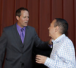 """Guiding Light's Robert Bogue chats and stars with actor Gilbert Gottfried who was the host on closing night at Hoboken International Film Festival - Closing Night June 5, 2014  at the Paramount Theatre, Middletown, New York. - Opening night party and ceremony and Opening Night world-wide Premiere of Star-Filled Film """"Rock Story"""", a rock n'roller coaster drama/mystery starring Mandy Bruno, Robert Bogue and more.  (Photo by Sue Coflin/Max Photos)"""