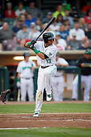 Dayton Dragons center fielder Jose Siri (12) at bat during a game against the Cedar Rapids Kernels on May 10, 2017 at Fifth Third Field in Dayton, Ohio.  Cedar Rapids defeated Dayton 6-5 in ten innings.  (Mike Janes/Four Seam Images)