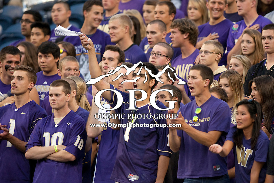 Sept 01, 2012:  Washington fans showed their support for the Huskies during the game against San Diego State.  Washington defeated San Diego State 21-12 at CenturyLink Field in Seattle, Washington...