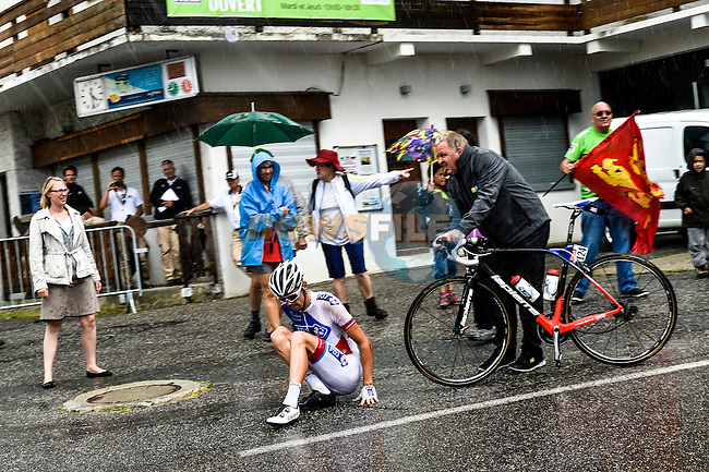 Steve Morabito (SUI) FDJ crashes on the wet descent off Mont&eacute;e de Bisanne during Stage 19 of the 2016 Tour de France running 146km from Albertville to Saint-Gervais Mont Blanc, France. 22nd July 2016.<br />
