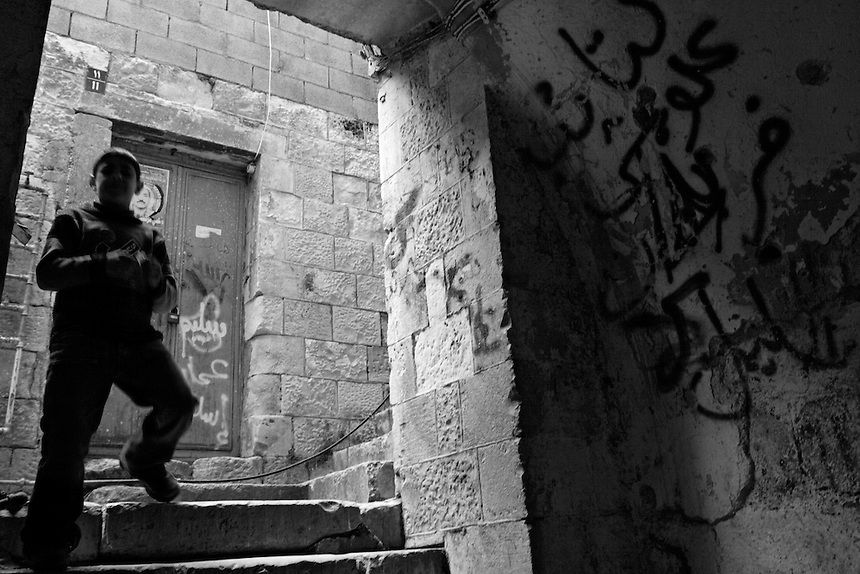A Palestinian boy in the old city of Nablus, the occupied West Bank, February 2006.