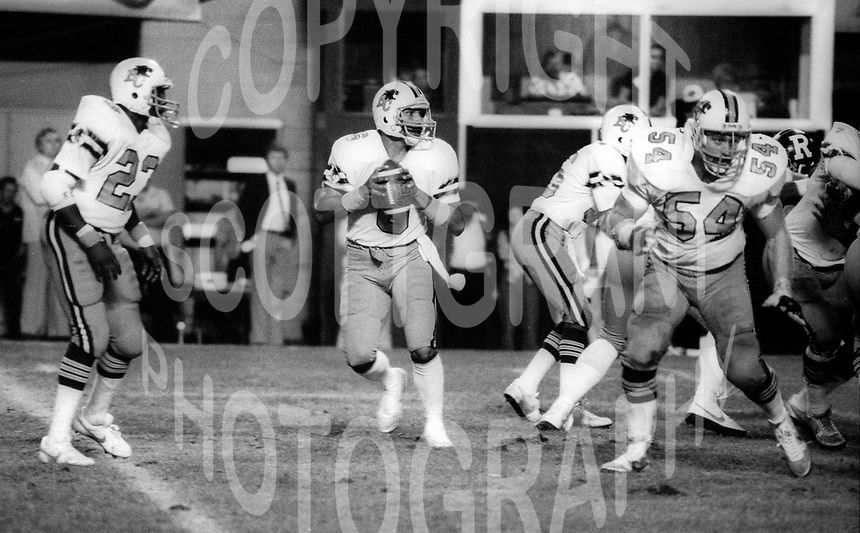 Larry Jones Joe Paopao Glenn Leonard BC Lions. 1983. Photo F. Scott Grant