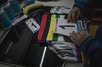 mum pinning on the race numbers on Eli Yserbyt's (BEL/U23/Marlux-Napoleon Games) rainbow jersey<br /> <br /> 2016 CX UCI World Cup Zeven (DEU)