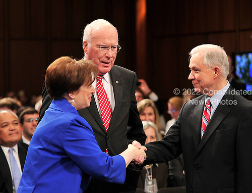United States Solicitor General Elena Kagan shakes hands with U.S. Senate Judiciary Committee ranking member Jeff Sessions (Republican of Alabama) prior to her confirmation hearing as Associate Justice of the United States Supreme Court in Washington, D.C. on Monday, June 28, 2010.  U.S. Senate Judiciary Committee Chairman Patrick Leahy (Democrat of Vermont) looks on..Credit: Ron Sachs / CNP