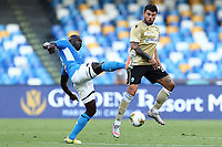 Kalidou Koulibaly of Napoli and Andrea Petagna of SPAL compete for the ball during the Serie A football match between SSC  Napoli and SPAL at stadio San Paolo in Naples ( Italy ), June 28th, 2020. Play resumes behind closed doors following the outbreak of the coronavirus disease. <br /> Photo Cesare Purini / Insidefoto