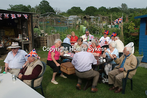 Queen Elizabeth ii Diamond Jubilee allotment party. Paddock Allotments Cannon Hill Common Merton SW London.