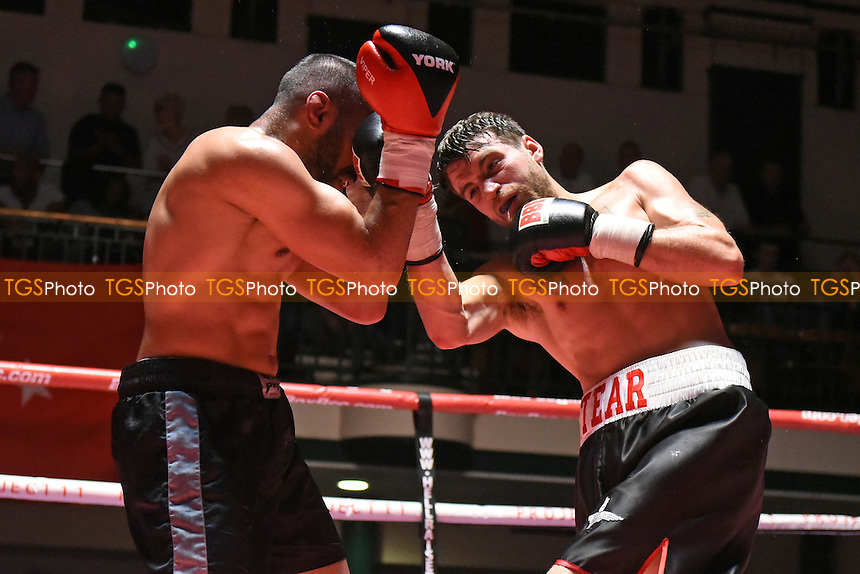 Tommy Tear (R) defeats Ibrar Riyaz during a Boxing Show at York Hall on 4th June 2016