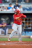 Palm Beach Cardinals catcher Jose Godoy (27) at bat during a game against the Charlotte Stone Crabs on April 21, 2018 at Charlotte Sports Park in Port Charlotte, Florida.  Charlotte defeated Palm Beach 5-2.  (Mike Janes/Four Seam Images)