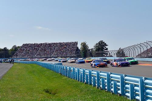 #11: Denny Hamlin, Joe Gibbs Racing, Toyota Camry FedEx Ground, #18: Kyle Busch, Joe Gibbs Racing, Toyota Camry M&M's Flavor Vote Winner, #9: Chase Elliott, Hendrick Motorsports, Chevrolet Camaro SunEnergy1