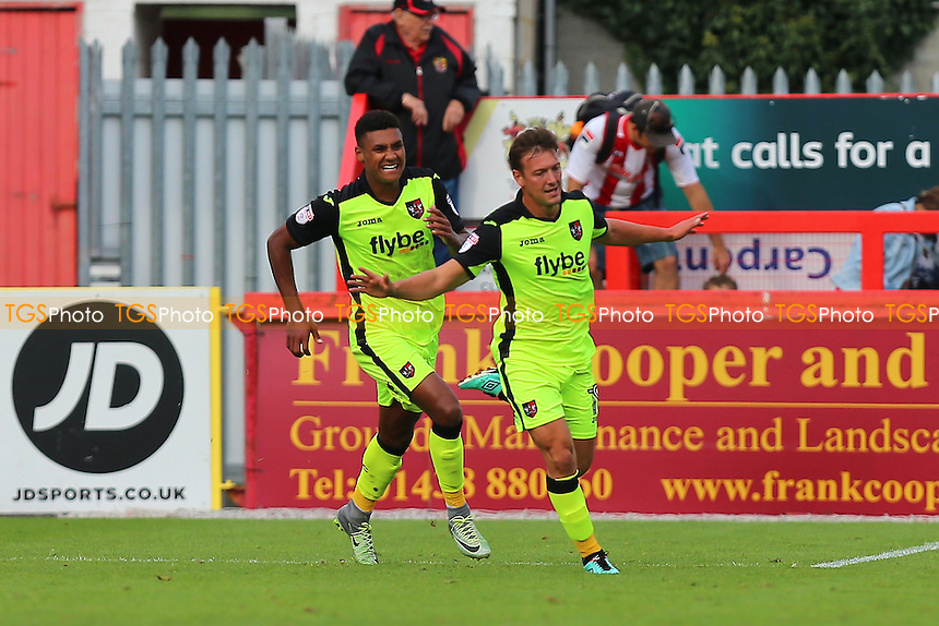 Lee Holmes of Exeter City (R) scores the first goal for his team and celebrates during Stevenage vs Exeter City, Sky Bet EFL League 2 Football at the Lamex Stadium on 24th September 2016