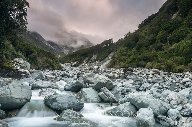 Butler River South Branch in Whataroa Valley at twilight, South Westland, West Coast, New Zealand