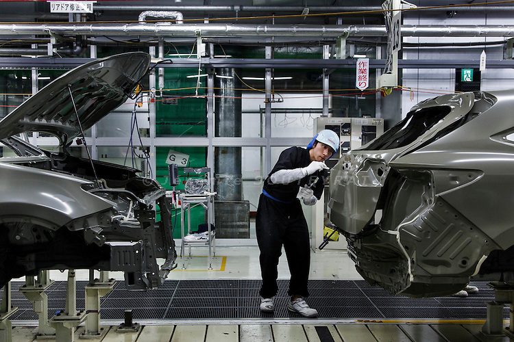 Toyota city, July 16 2014 - Inside Takaoka plant,highly-qualified workers are the only ones able to produce specific tasks that a machine could not do properly.