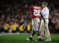 Jan 7, 2010; Pasadena, CA, USA; Alabama Crimson Tide head coach Nick Saban talks with running back Mark Ingram (22) during the second quarter of the 2010 BCS national championship game at the Rose Bowl.  Mandatory Credit: Mark J. Rebilas-