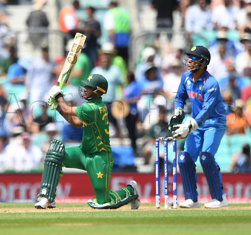 June 18th 2017, The Kia Oval, London, England;  ICC Champions Trophy Cricket Final; India versus Pakistan; Fakhar Zaman of Pakistan plays one in the air and is caught out