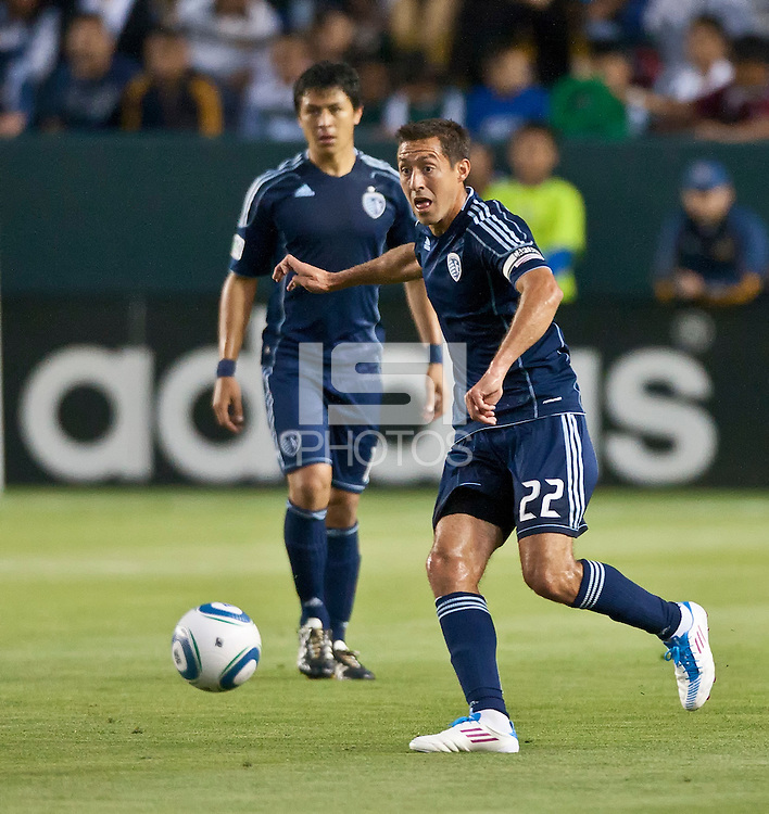 CARSON, CA – May 14, 2011: Sporting KC midfielder Davy Arnaud (22) during the match between LA Galaxy and Sporting Kansas City at the Home Depot Center in Carson, California. Final score LA Galaxy 4, Sporting Kansas City 1.