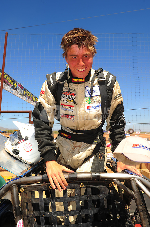 Apr 16, 2011; Surprise, AZ USA; LOORRS driver Dave Mason Jr celebrates after winning round 3 at Speedworld Off Road Park. Mandatory Credit: Mark J. Rebilas-.