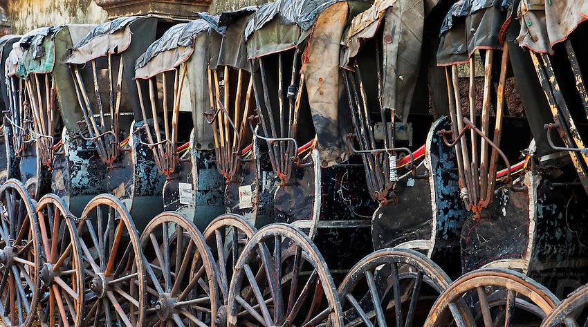 A stack of old Rickshaws, Kolkata, West Bengal, India