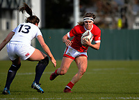 Karen Paquin takes the ball up during the 2017 International Women's Rugby Series rugby match between England Roses and Canada at Rugby Park in Christchurch, New Zealand on Tuesday, 13 June 2017. Photo: Dave Lintott / lintottphoto.co.nz