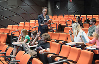 Nancy Marie Mithlo, Associate Professor, Art History & Visual Arts; Chair of American Indian Studies at the Autry National Center of the American West Institute, teaches her Art History & Visual Arts (AHVA) class in Choi Auditorium, Oct. 20, 2015.<br /> (Photo by Marc Campos, Occidental College Photographer)