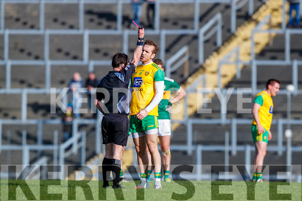 Nathan Mullins receives a red card from referee Paddy Neilan Donegal in the Allianz Football League Division 1 Round 1 match between Kerry and Donegal at Fitzgerald Stadium in Killarney, Co. Kerry.