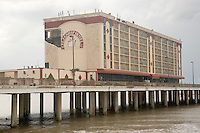 The Flagship Hotel on the Gulf of Mexico on Galveston's Seawall sustained heavy damage from Hurricane Ike.