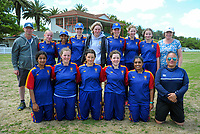 The Tawa College team poses for a group photo after the the New Zealand Secondary Schools 1st XI NZCT girls' cricket national finals match between Tauranga Girls' College and Epsom Girls' Grammar School at Fitzherbert Park in Palmerston North, New Zealand on Sunday, 3 December 2017. Photo: Dave Lintott / lintottphoto.co.nz