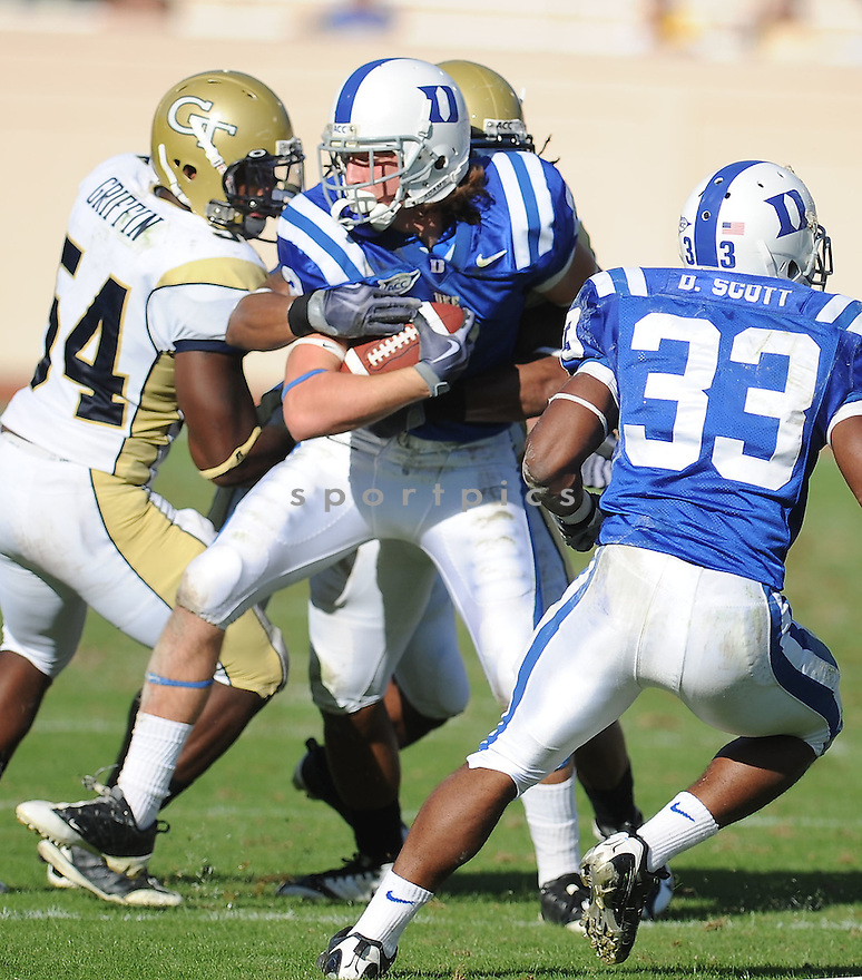 CONNER VERNON, of the Duke Blue Devils, in action during the Blue Devilsgame against the Georgia Tech Yellow Jackets  on November 14, 2009 in Durham, NC. Georgia Tech won 49-10