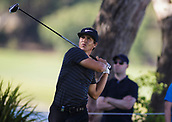 9th February 2018, Lake Karrinyup Country Club, Karrinyup, Australia; ISPS HANDA World Super 6 Perth golf, second round; Thorbjorn Olesen (DEN) watches the ball flight