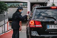 Torino 04-05-2020 <br /> The entrances to the FCA Fiat Chrysler Automobiles factory of the morning shift workers. <br /> In compliance with the safety regulations due to the Coronavirus Covid-19 pandemic, body temperature is measured using thermoscanners and pistol thermometers besides the mandatory use of protective masks . <br /> Today, May 4, the second phase of the measures taken by the Italian government against the coronavirus pandemic began. <br /> <br /> Gli ingressi allo stabilimento di FCA Fiat Mirafiori degli operai del turno della mattina. In ottemperanza alle normative di sicurezza per la pandemia di Coronavirus Covid-19, viene misurata a tutti la temperatura corporea prima dell'ingresso in fabbrica, mediante termoscanner e termometri a pistola oltre all'uso obbligatorio delle mascherine protettive.<br /> Oggi è iniziata la fase due (2) delle misure contro la pandemia di coronavirus adottate dal governo italiano. <br /> Photo: Federico Tardito / Insidefoto