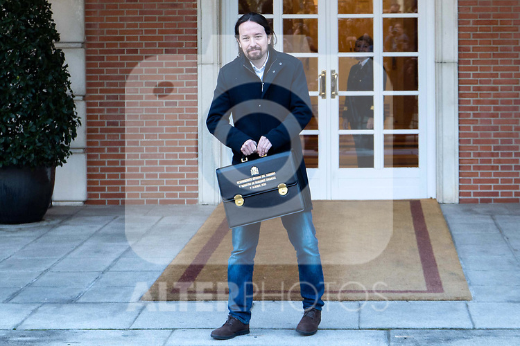 Spain's Deputy Prime Minister for Social Rights and Sustainable Development Pablo Iglesias attends the first cabinet meeting of the new government. January 14,2020. (ALTERPHOTOS/Ander Beizama)