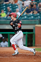 Chattanooga Lookouts first baseman Brent Rooker (25) hits a single during a game against the Jackson Generals on May 9, 2018 at AT&T Field in Chattanooga, Tennessee.  Chattanooga defeated Jackson 4-2.  (Mike Janes/Four Seam Images)