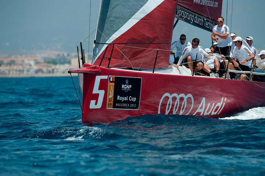 PALMA DE MALLORCA, SPAIN. 2012.  Audi Sailing Team powered by All4One in action during day one of Royal Cup of 52 Superseries on july 11, 2012 in Palma de Mallorca, Spain (photo by Xaume Olleros/52 Superseries)