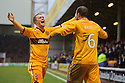 MOTHERWELL'S TOM HATELEY'S CELEBRATES AFTER HIS CORNER KICK DROPPED INTO THE NET FOR MOTHERWELL'S FIRST GOAL