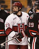 Nathan Krusko (Harvard - 13) - The Harvard University Crimson defeated the Northeastern University Huskies 4-3 in the opening game of the 2017 Beanpot on Monday, February 6, 2017, at TD Garden in Boston, Massachusetts.