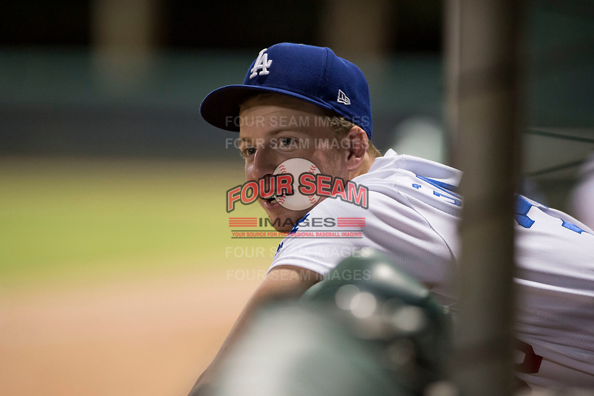 AZL Dodgers pitcher Jacob Gilliland (33) in the dugout during an Arizona League game against the AZL White Sox at Camelback Ranch on July 3, 2018 in Glendale, Arizona. The AZL Dodgers defeated the AZL White Sox by a score of 10-5. (Zachary Lucy/Four Seam Images)