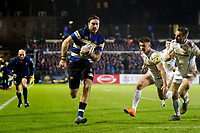 Matt Banahan of Bath Rugby runs in a try in the second half. Aviva Premiership match, between Bath Rugby and Exeter Chiefs on March 23, 2018 at the Recreation Ground in Bath, England. Photo by: Patrick Khachfe / Onside Images