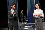 DRY POWDER by Burgess ; <br /> Tom Riley as Seth ; <br /> Hayley Attwell as Jenny ; <br /> Directed by Ledwich ; <br /> Designed by D Edwards ; <br /> Lighting by Elliot Griggs ; <br /> at Hampstead Theatre, London, UK ; <br /> 1 February 2018 ; <br /> Credit: Marilyn Kingwill / Performing Arts Images ; <br /> www.performingartsimages.com<br /> <br /> ***Educational Licence Use Only under Performing Arts Images Subscription Service.*** None of these images can be used commercially without prior written permission. ***Contact office@performingartsimages.com for details***