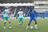 Frank Nouble of Colchester United tries to get inside Byron Moore of Plymouth Argyle and Scott Wootton of Plymouth Argyle during Colchester United vs Plymouth Argyle, Sky Bet EFL League 2 Football at the JobServe Community Stadium on 8th February 2020