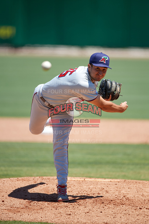 Fort Myers Miracle relief pitcher Hector Lujan (35) delivers a pitch during a game against the Clearwater Threshers on April 25, 2018 at Spectrum Field in Clearwater, Florida.  Clearwater defeated Fort Myers 9-5.  (Mike Janes/Four Seam Images)