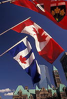 AJ3060, Toronto, Ontario, flag, Canada, Three Canadian flags wave in front of Old City Hall in Toronto.