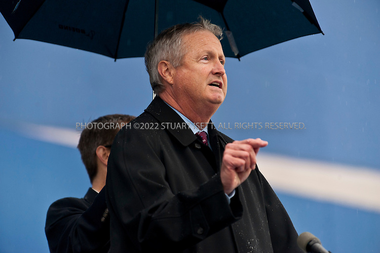 9/26/2011--Everett, WA, USA..Jim Albaugh, president and chief executive officer of Boeing Commercial Airplanes, speaks at events for the delivery of the company's first 787 Dreamliner...Thousands of Boeing employees gathered in the rain to celebrate the delivery of the first 787 Dreamliner to launch customer ANA (All Nippon Airways) from Japan. The fuel efficient composite aircraft was towed to the front of the huge factory doors where it was assembled, and presented to ANA President Shinichiro Ito in front of thousands of invited dignitaries and Boeing workers. The first 787 was supposed to be delivered 3 years ago but despite delays Boeing still has orders for over 800 of the planes...©2011 Stuart Isett. All rights reserved.