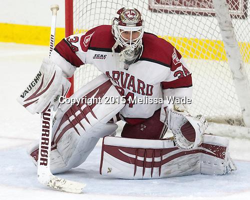 Steve Michalek (Harvard - 34) - The Harvard University Crimson defeated the visiting Princeton University Tigers 5-0 on Harvard's senior night on Saturday, February 28, 2015, at Bright-Landry Hockey Center in Boston, Massachusetts.
