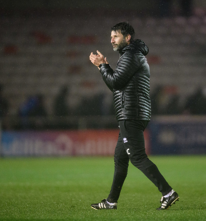 Lincoln City manager Danny Cowley applauds the fans at the final whistle<br /> <br /> Photographer Chris Vaughan/CameraSport<br /> <br /> The EFL Sky Bet League Two - Saturday 15th December 2018 - Lincoln City v Morecambe - Sincil Bank - Lincoln<br /> <br /> World Copyright © 2018 CameraSport. All rights reserved. 43 Linden Ave. Countesthorpe. Leicester. England. LE8 5PG - Tel: +44 (0) 116 277 4147 - admin@camerasport.com - www.camerasport.com