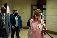 Speaker of the United States House of Representatives Nancy Pelosi (Democrat of California), makes her way to a classified briefing on election security for members of Congress at the US Capitol in Washington, DC., Friday, July 31, 2020. <br /> Credit: Rod Lamkey / CNP /MediaPunch