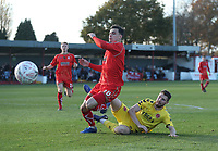 Alfreton Town's Callum Chettle and Fleetwood Town's James Husband<br /> <br /> Photographer Rachel Holborn/CameraSport<br /> <br /> Emirates FA Cup First Round - Alfreton Town v Fleetwood Town - Sunday 11th November 2018 - North Street - Alfreton<br />  <br /> World Copyright &copy; 2018 CameraSport. All rights reserved. 43 Linden Ave. Countesthorpe. Leicester. England. LE8 5PG - Tel: +44 (0) 116 277 4147 - admin@camerasport.com - www.camerasport.com