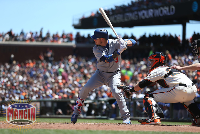 SAN FRANCISCO, CA - MAY 17:  Yasmani Grandal #9 of the Los Angeles Dodgers bats against the San Francisco Giants during the game at AT&T Park on Wednesday, May 17, 2017 in San Francisco, California. (Photo by Brad Mangin)