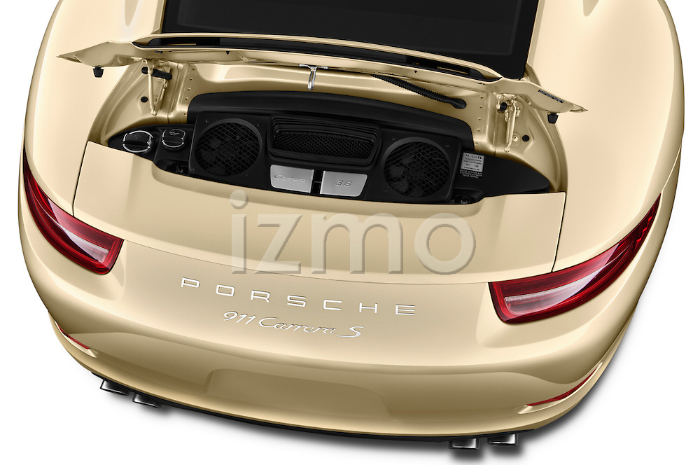 High angle engine detail of a  .2012 Porsche Carrera S Coupe