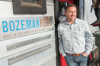 Dan Rice, owner of Bozeman Reel, stands outside the company's manufacturing facilities in Bozeman, Montana.